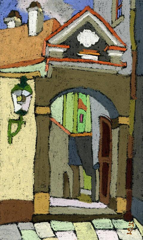 Pastel Print featuring the painting Chesky Krumlov Old Street Latran by Yuriy Shevchuk