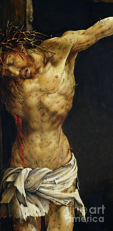 Jesus Print featuring the painting Christ On The Cross by Matthias Grunewald