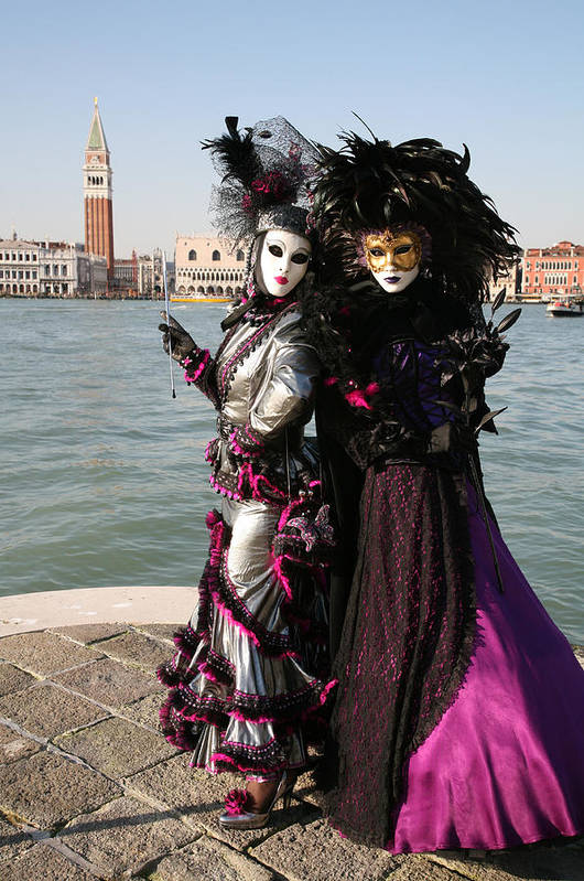 Venice Print featuring the photograph Christine And Gunilla Across St. Mark's by Donna Corless