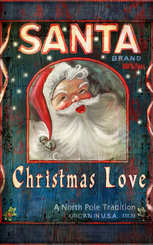 Santa Print featuring the painting Christmas Love by Joel Payne