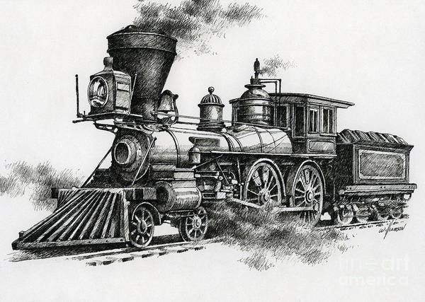 Pen Print featuring the painting Classic Steam by James Williamson