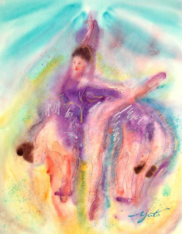 Ballet Art Print featuring the painting Colorful Dance by John YATO