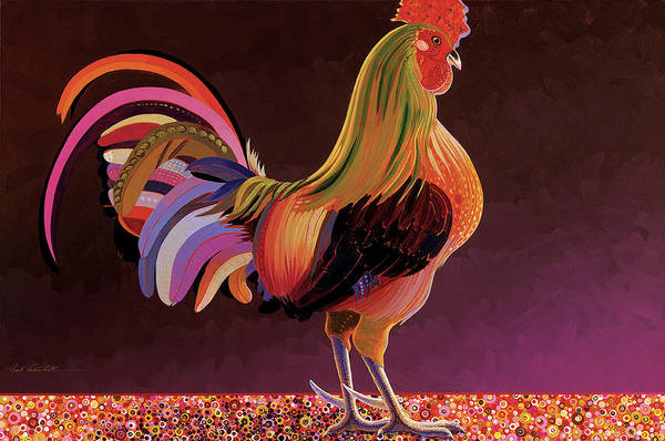 Rooster Paintings Print featuring the painting Copper Rooster by Bob Coonts