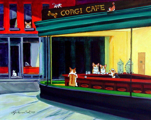 Pembroke Welsh Corgi Print featuring the painting Corgi Cafe After Hopper by Lyn Cook