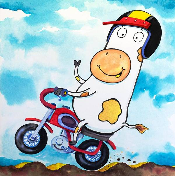 Cow Print featuring the painting Cow Motocross by Scott Nelson