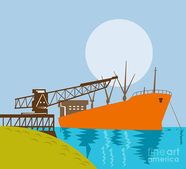 Illustration Print featuring the digital art Crane Loading A Ship by Aloysius Patrimonio
