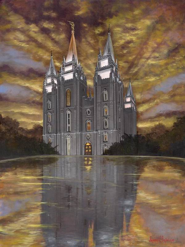 Temple Print featuring the painting Crowned With Glory by Jeff Brimley