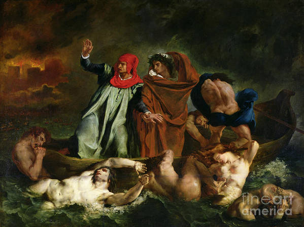 Dante Print featuring the painting Dante And Virgil In The Underworld by Ferdinand Victor Eugene Delacroix
