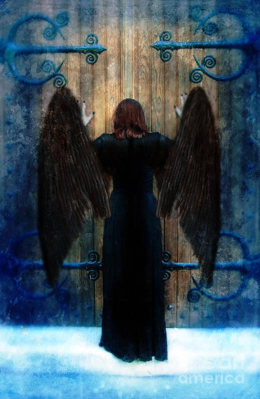 Angel Print featuring the photograph Dark Angel At Church Doors by Jill Battaglia