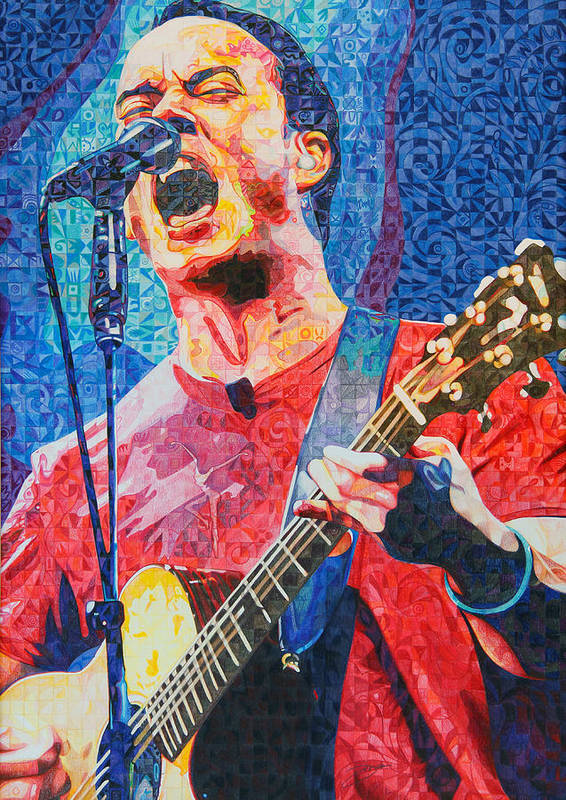Dave Matthews Print featuring the drawing Dave Matthews Squared by Joshua Morton