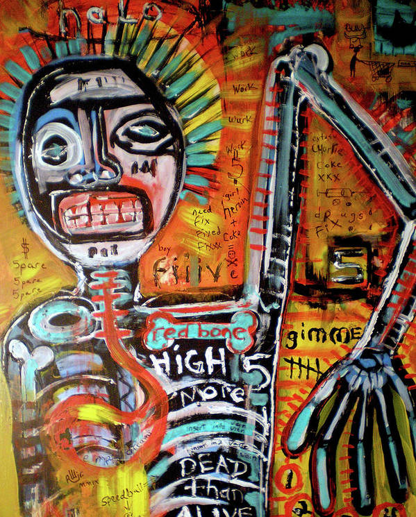 Rwjr Print featuring the painting Death Of Basquiat by Robert Wolverton Jr