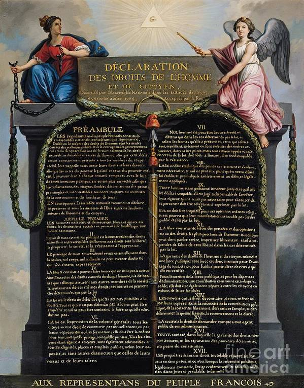 Declaration Print featuring the painting Declaration Of The Rights Of Man And Citizen by French School
