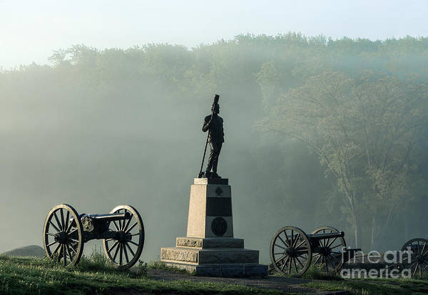 4th New York Independent Battery Print featuring the photograph Devil's Den Monument At Gettysburg by John Greim