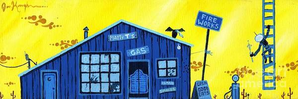 Gas Station Print featuring the painting Did You See That by Dan Keough