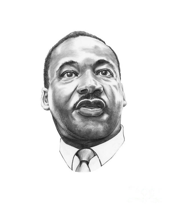 Portrait Print featuring the drawing Dr. Martin Luther King by Murphy Elliott