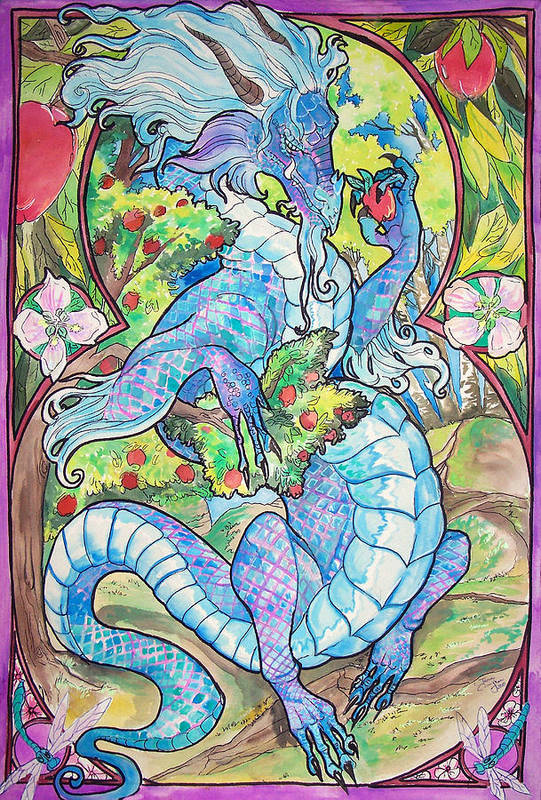 Dragons Print featuring the painting Dragon Apples by Jenn Cunningham
