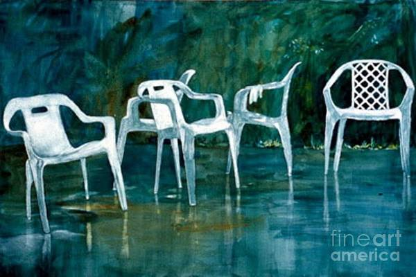 Lawn Chairs Print featuring the painting Drip Dry by Elizabeth Carr
