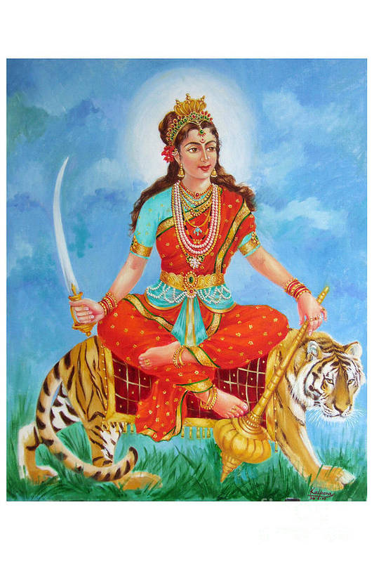 Durga Devi Print featuring the painting Durga Devi by Kalpana Talpade Ranadive