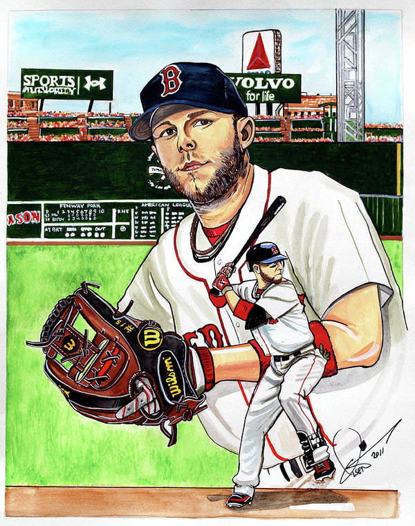 Dustin Pedroia Print featuring the painting Dustin Pedroia by Dave Olsen