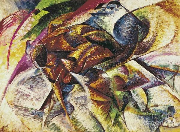 Dynamism Of A Cyclist (dinamismo Di Un Ciclista) 1913 (oil On Canvas) By Umberto Boccioni (1882-1916) Print featuring the painting Dynamism Of A Cyclist by Umberto Boccioni