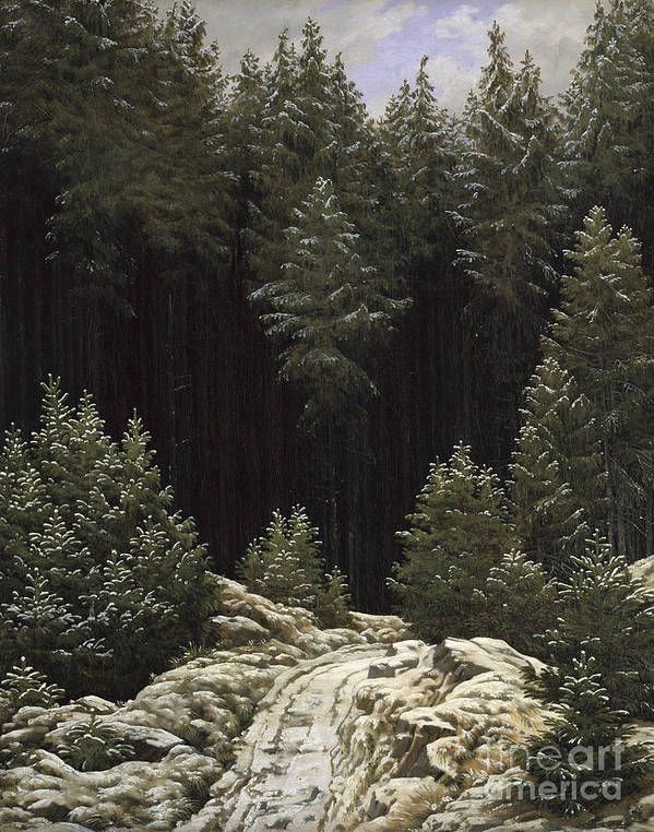 Early Print featuring the painting Early Snow by Caspar David Friedrich