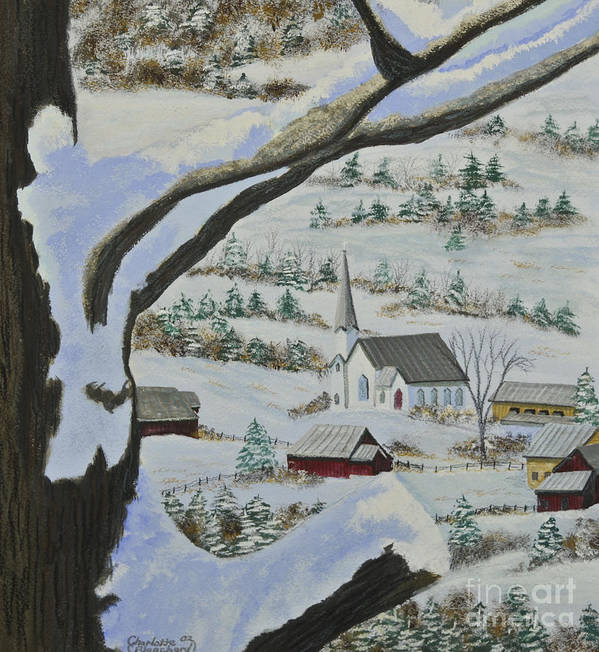 Winter Scene Paintings Print featuring the painting East Orange Vermont by Charlotte Blanchard