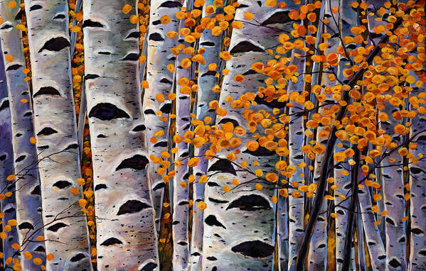 Aspen Print featuring the painting Effulgent October by Johnathan Harris