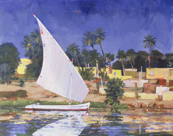 Boat Print featuring the painting Egypt Blue by Clive Metcalfe
