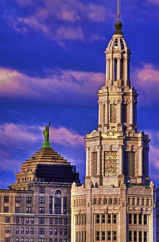 Electric Building Print featuring the photograph Electric Liberty by Don Nieman