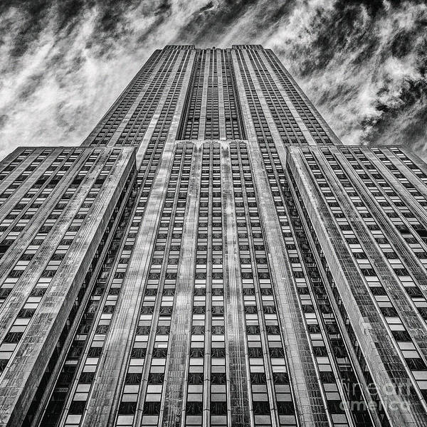 Crazy Nyc Print featuring the photograph Empire State Building Black And White Square Format by John Farnan