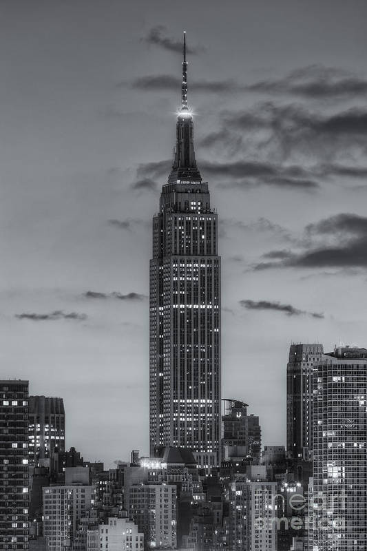 Clarence Holmes Print featuring the photograph Empire State Building Morning Twilight Iv by Clarence Holmes