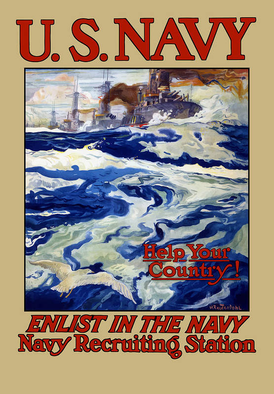 Battleships Print featuring the painting Enlist In The Navy by War Is Hell Store
