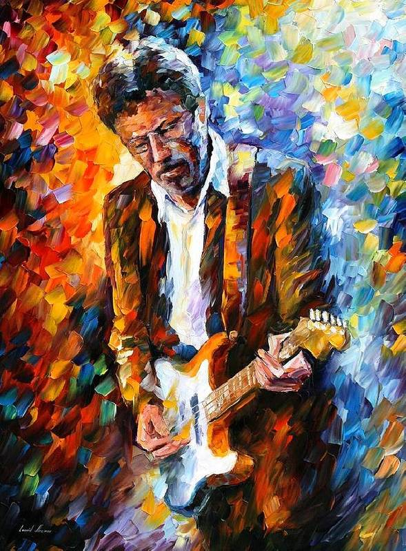 People Print featuring the painting Eric Clapton by Leonid Afremov