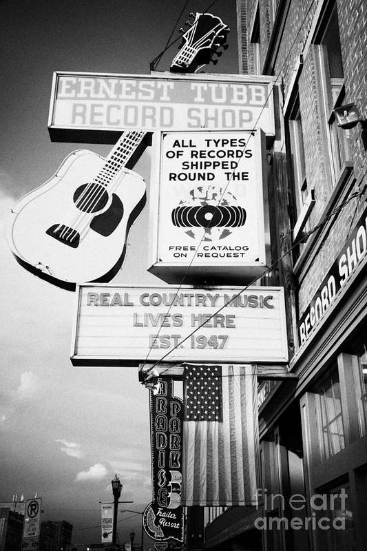 Broadway Print featuring the photograph ernest tubbs record shop on broadway downtown Nashville Tennessee USA by Joe Fox