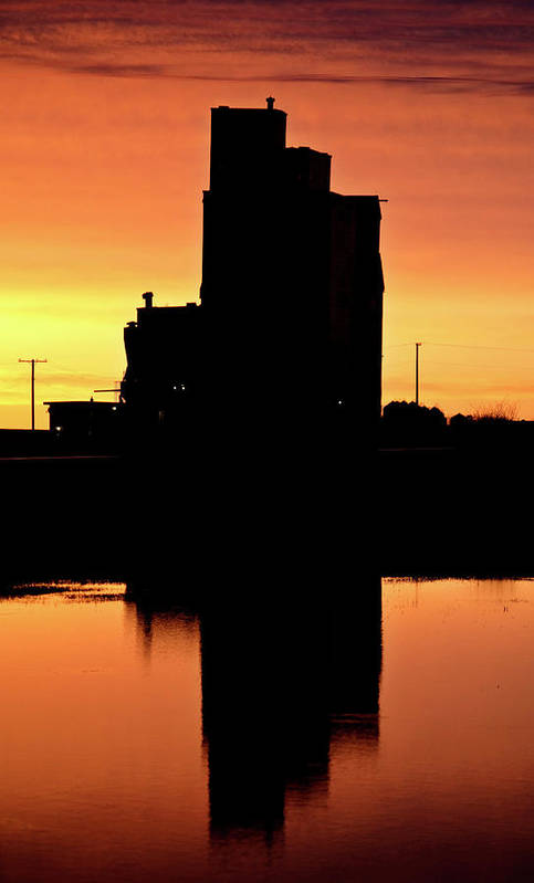 Twilight Print featuring the digital art Eyebrow Gain Elevator Reflected Off Water After Sunset by Mark Duffy