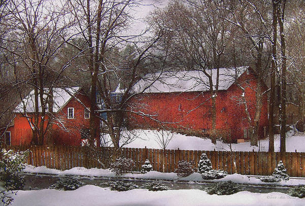 Savad Print featuring the photograph Farm - Barn - Winter In The Country by Mike Savad