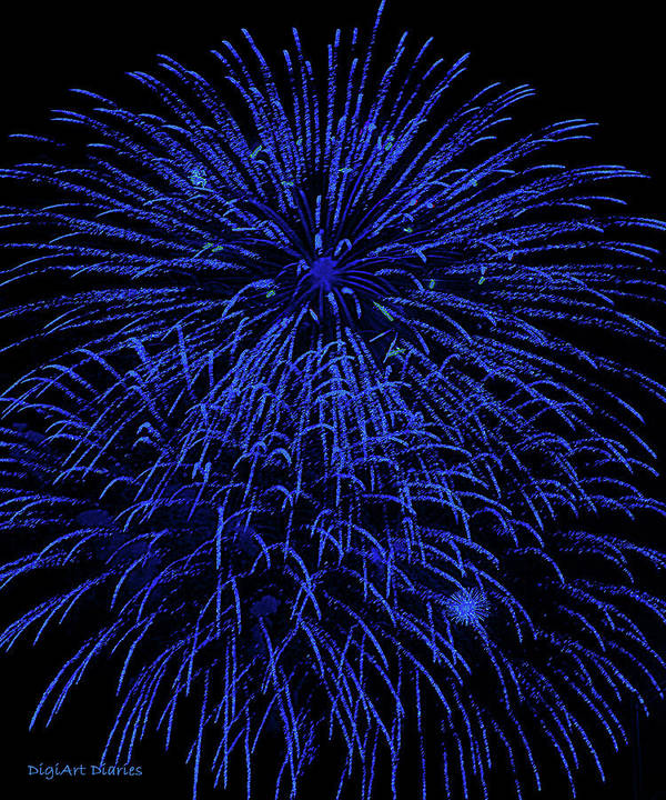Fireworks Print featuring the digital art Firework Blues by DigiArt Diaries by Vicky B Fuller