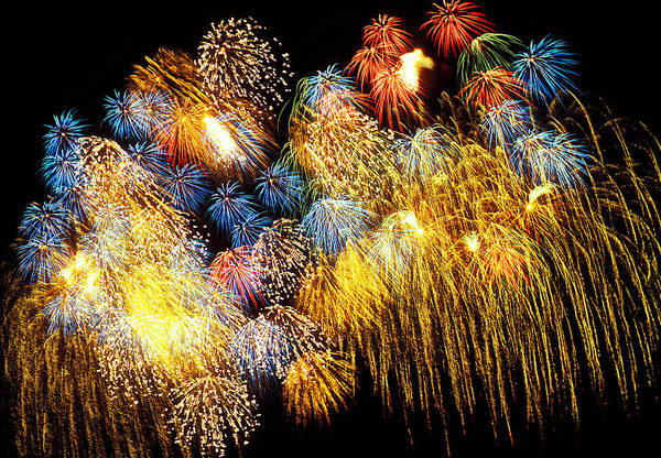 4th Of July Print featuring the photograph Fireworks Exploding by Garry Gay