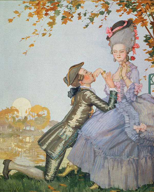First Love Print featuring the painting First Love by Konstantin Andreevic Somov