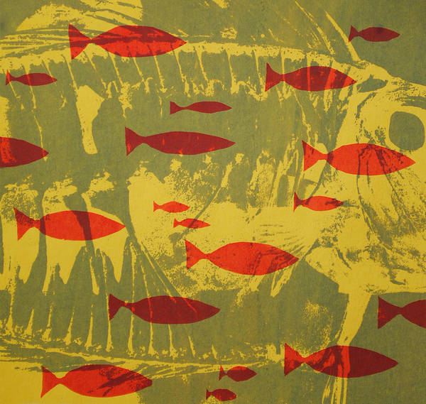 Fish Print featuring the tapestry - textile Fish For Thought by Chris Steinken