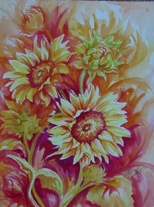 Sunflowers Print featuring the painting Flaming Sunflowers by Summer Celeste