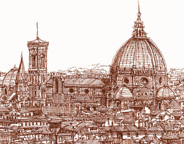 Florence Print featuring the drawing Florence Duomo In Red by Adendorff Design