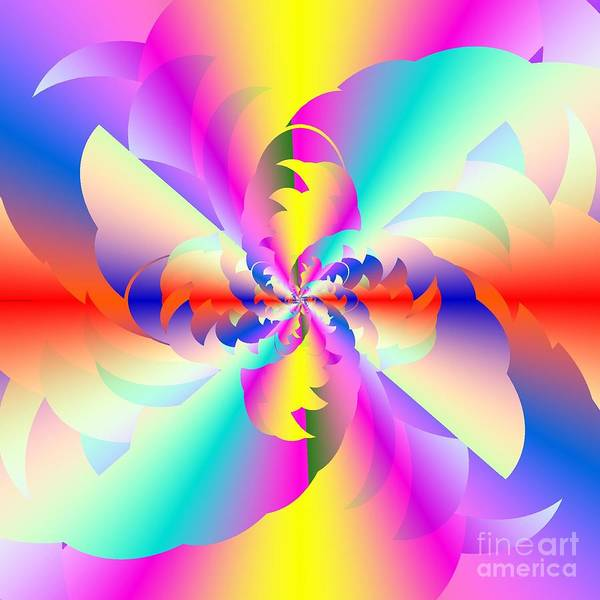 Fractured Fractal Rainbow Print featuring the digital art Fractal Rainbow by Michael Skinner