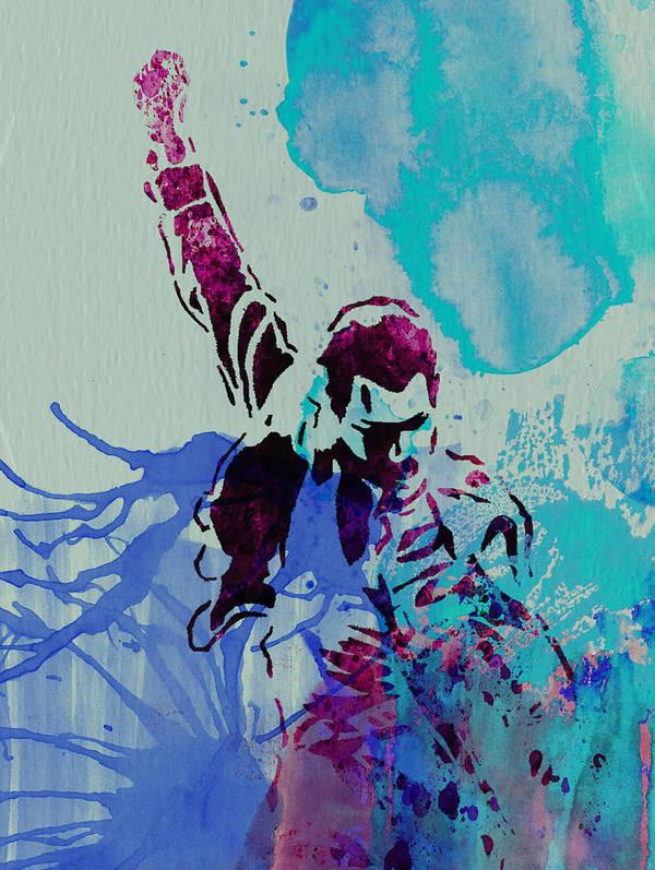 Freddie Mercury Print featuring the painting Freddie Mercury by Naxart Studio