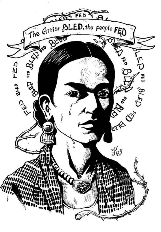 Frida Print featuring the drawing Frida by Marcus Anderson
