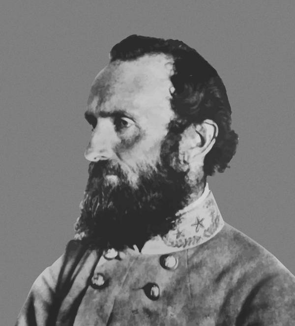 Stonewall Jackson Print featuring the painting General Stonewall Jackson by War Is Hell Store