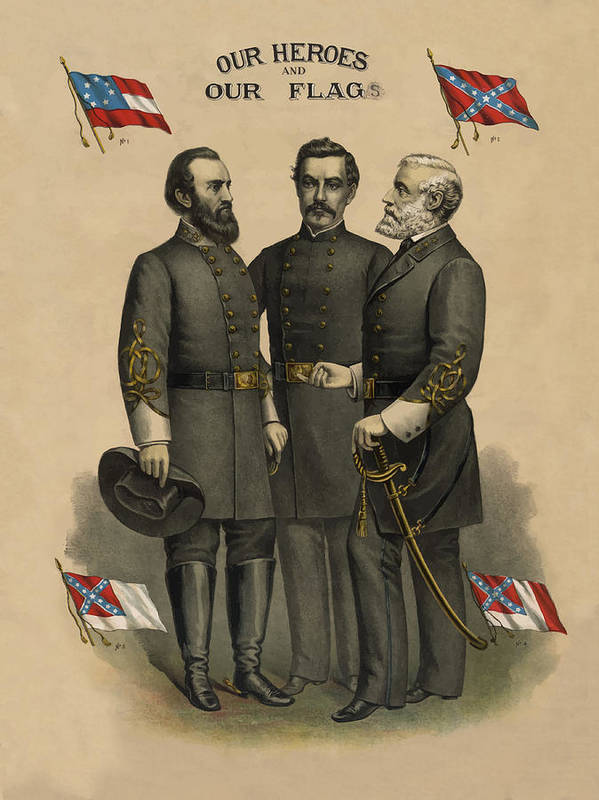 Confederate Print featuring the painting Generals Jackson Beauregard And Lee by War Is Hell Store