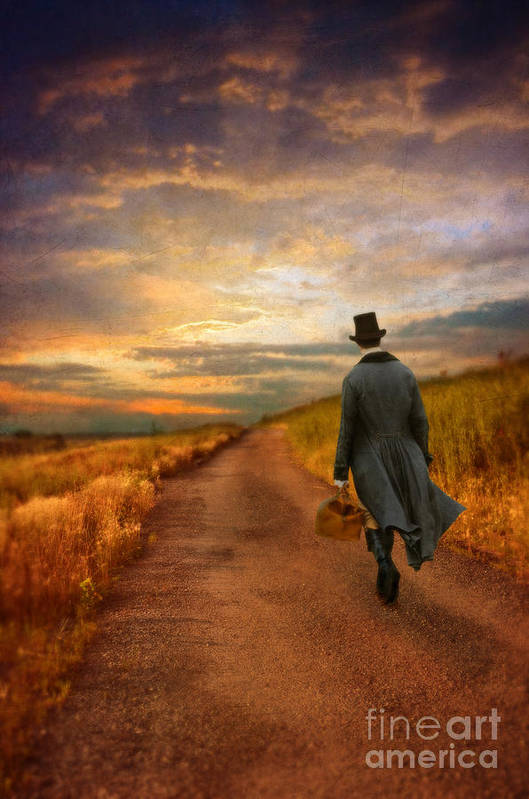 Young Print featuring the photograph Gentleman Walking On Rural Road by Jill Battaglia