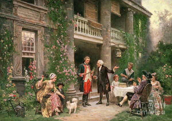 George Print featuring the painting George Washington At Bartrams Garden by Jean Leon Jerome Ferris