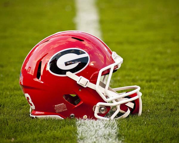 Georgia Print featuring the photograph Georgia Bulldogs Football Helmet by Replay Photos